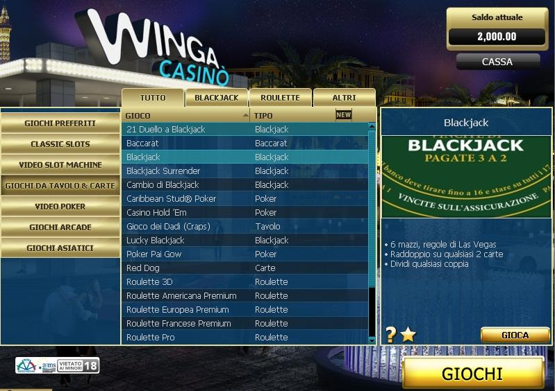 Winga Casino Online